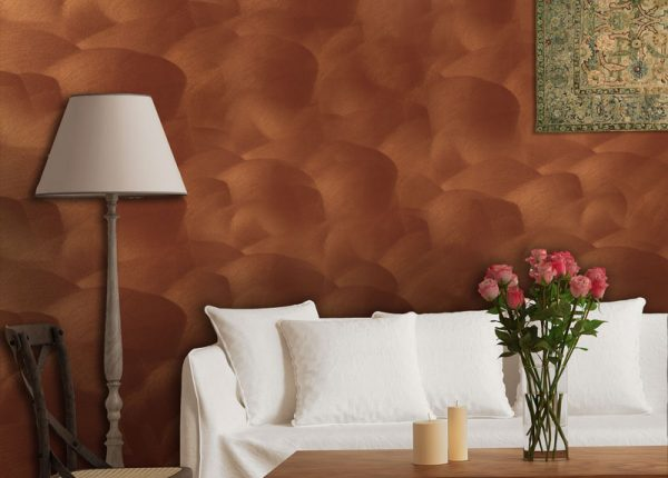 Артеметал - метална декоративна мазилка с финиш (злато и сребро) за интериорни пространства с ефект на коприна при докосване.
