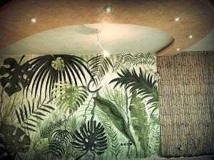 декоративна мазилка енкаусто - джунгла. Интериорен дизайн в кабинет на любителна природата