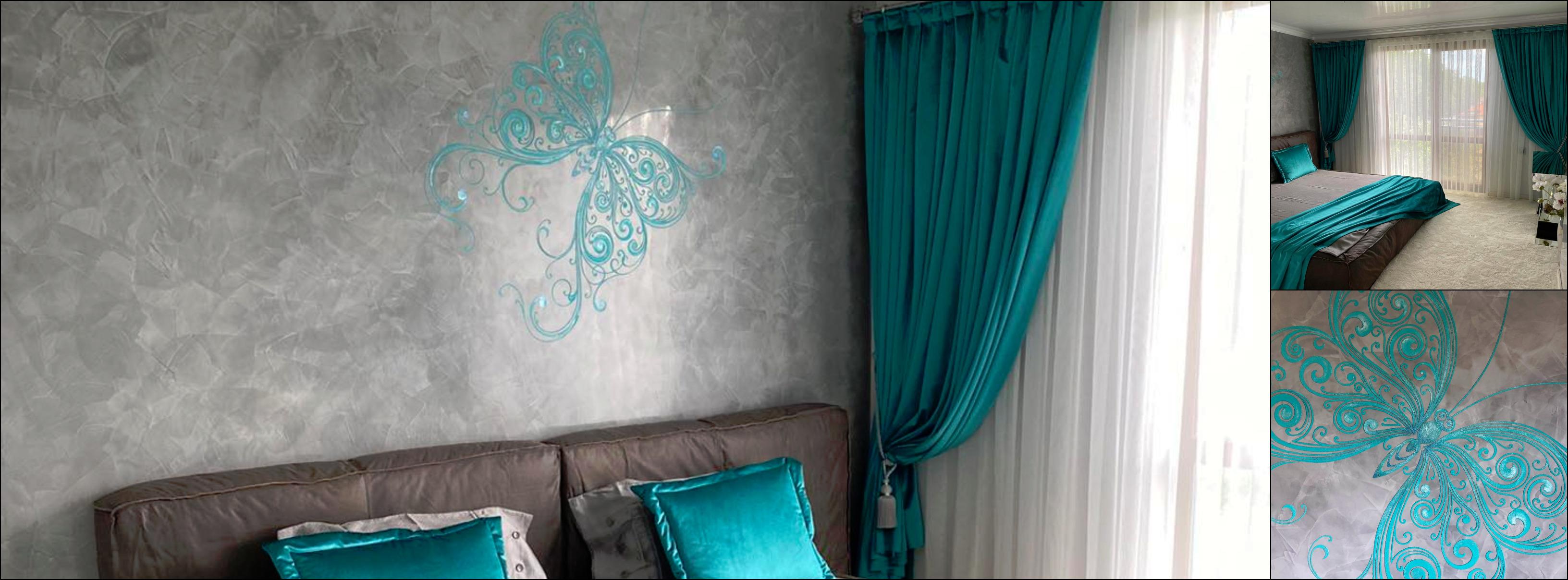 Декорация на пеперуди с италианска мазилка в зелен нюанс Артра полагане мазилка майстор